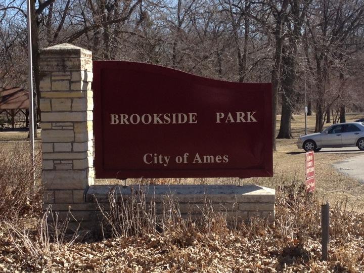 Brookside park ames iowa sign
